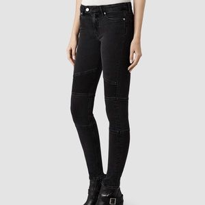 All Saints Low Rise Skinny Biker Jeans